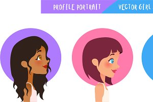 Profile Portrait - Vector Girl Set