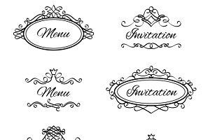 Calligraphic vignettes icons