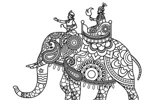 Coloring page with maharaja