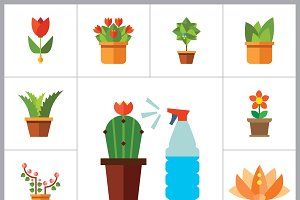 Flowers Flat Icon Set
