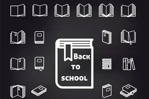 Back to school book icons