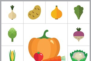 Green Food Flat Icon Set