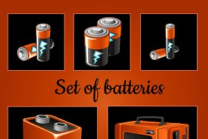 Batteries on a brown background