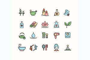 Spa Outline Icon Set. Vector