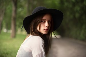 sensual girl in the hat