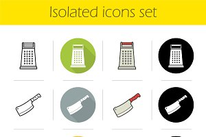 Kitchen tools icons set. Vector