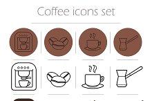 Coffee icons set. Vector