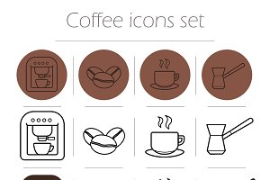 Coffee icons set. Vector