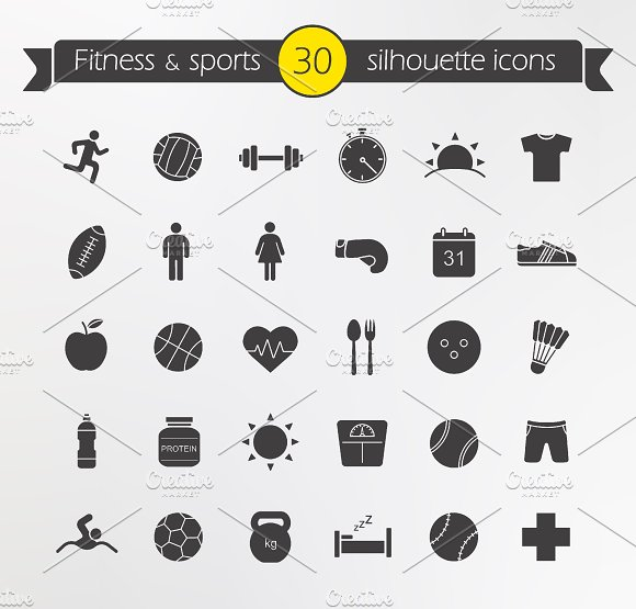 Fitness silhouette icons set. Vector