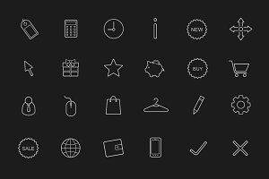 E-commerce linear icons set. Vector