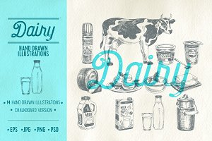 Hand drawn dairy illustrations