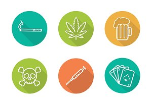 Addictions icons. Vector