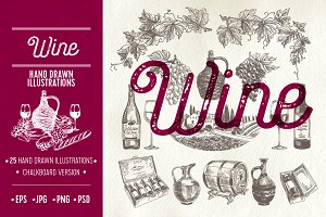 Hand drawn wine illustrations