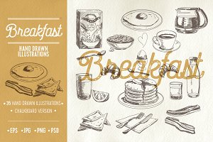 Hand drawn breakfast illustrations