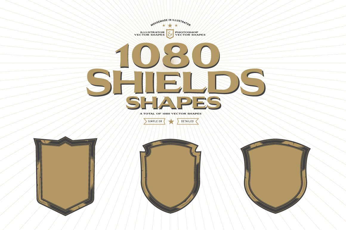 1080 Vector Shields Shapes Objects Creative Market