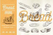Hand drawn bread illustrations
