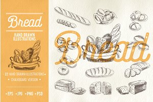 Hand drawn bread illustrations