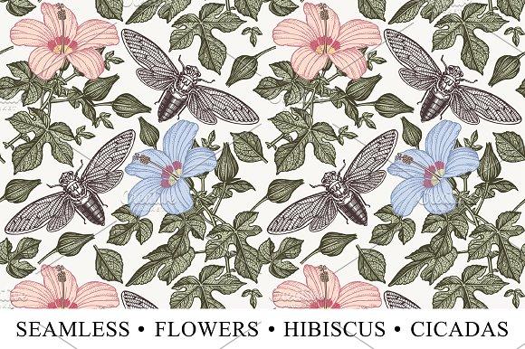 Seamless Flowers Hibiscus Cicadas