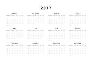 Calendar 2017 year simple style