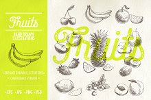 Hand drawn fruits illustrations