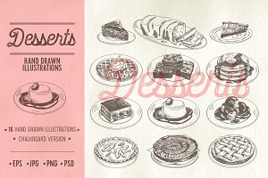 Hand drawn restaurant desserts