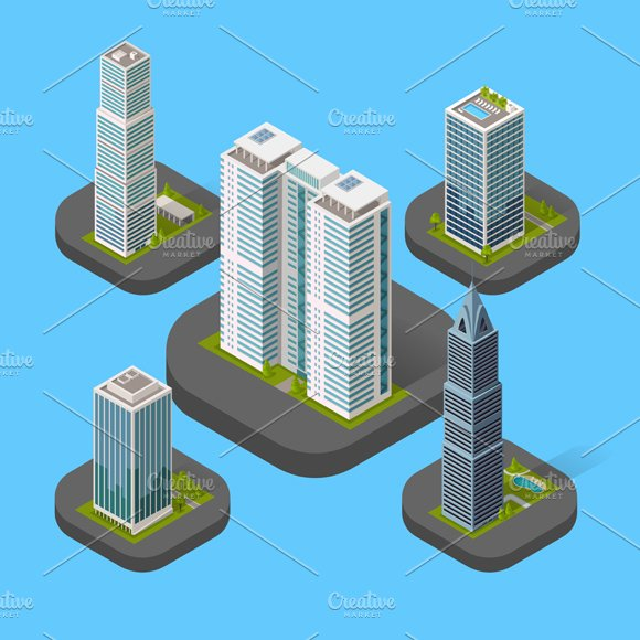 Isometric Building Set Isolated in Illustrations