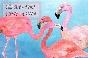 Watercolor Flamingoes Clip Art+Print