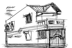 sketch vector of house