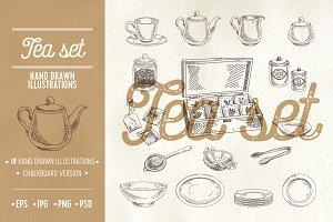 Hand drawn tea set illustrations