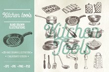 Kitchen tools sketch illustrations