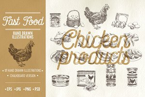 Hand drawn chicken products