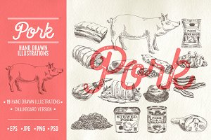 Pork hand drawn Illustrations