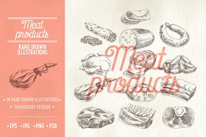 Hand drawn meat products