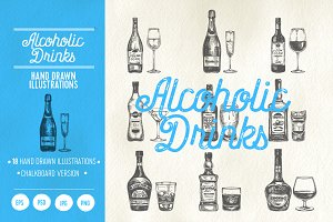 18 hand drawn alcoholic drinks