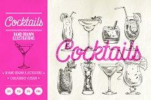 Hand drawn cocktails illustrations
