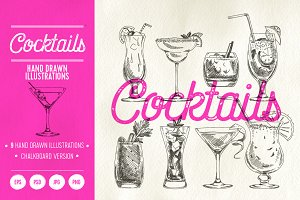 Hand drawn cocktails illustrations
