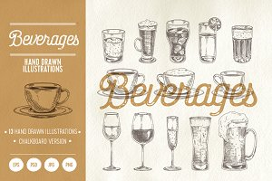 13 hand drawn beverages