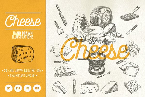 Hand drawn cheese illustrations
