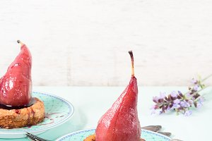 Mini cakes with pears. Vertical