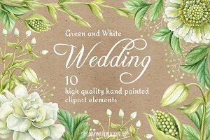 Wedding watercolor clipart elements