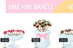 Cake Pops Buckets - Vector Set