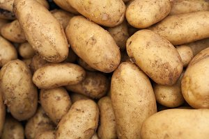 Organic potatoes on market