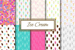 Yummy Ice Cream vector patterns