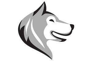 Husky Dog Head Retro