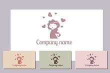 Romantic girl logo template