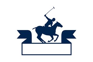 Polo Player Riding Horse Ribbon