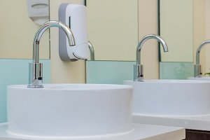 white basins in bathroom