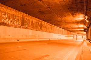 highway road tunnel with light