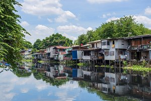 Wooden houses along the canals