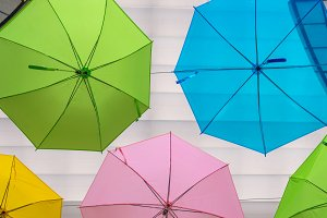 colorful of umbrellas urban